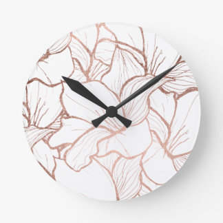 Modern handdrawn faux rose gold flowers pattern round clock