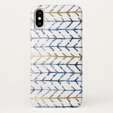 Modern Handdrawn Indigo Gold Chevron Pattern iPhone XS Case