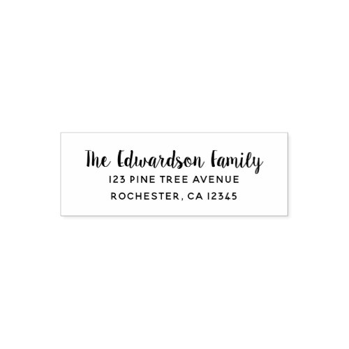 Modern handwritten script family name self_inking stamp