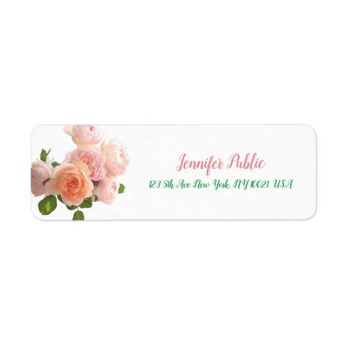 Modern Handwritten Template Floral Watercolor Rose Label