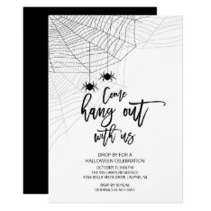 Modern Hang Out With Us Spider Halloween Party Card at Zazzle