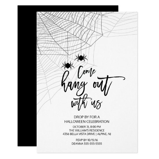 Modern Hang out with us Spider Halloween Party Card