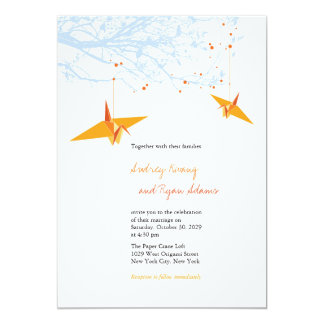 Modern Hanging Paper Cranes Asian Wedding Invite