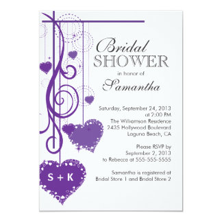 Modern Hanging Purple Hearts Bridal Shower Card