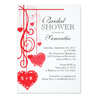 Modern Hanging Red Hearts Bridal Shower Card