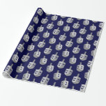 """Modern Hanukkah pattern Wrapping Paper<br><div class=""""desc"""">Available in different products.   Did you know that you can transfer this design to any products that you want by yourself. If you don't know how,   please check my post to see how to do:  www.giftforallseason.com/blog/new-option-at-zazzle-store</div>"""