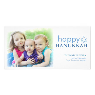 Modern Hanukkah Photo Holiday Greeting Photo Card