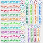 "[ Thumbnail: Modern ""Happy Birthday!"" + Heart Outline Shape Sticker ]"