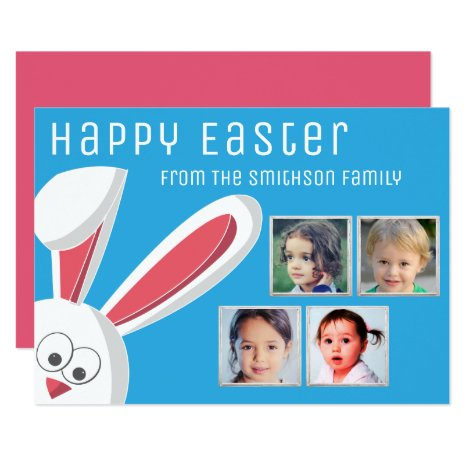 Modern Happy Easter Cute Bunny Photo Collage Card