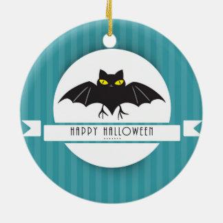 Modern Happy Halloween Bat on Stripes Ceramic Ornament