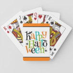 """Modern Happy Halloween Typography Bats Spiders Playing Cards<br><div class=""""desc"""">A modern and colorful &quot;happy halloween&quot; typographic text in black,  orange,  blue and green with bats and spiders. Fantastic for Halloween parties and celebrations.</div>"""