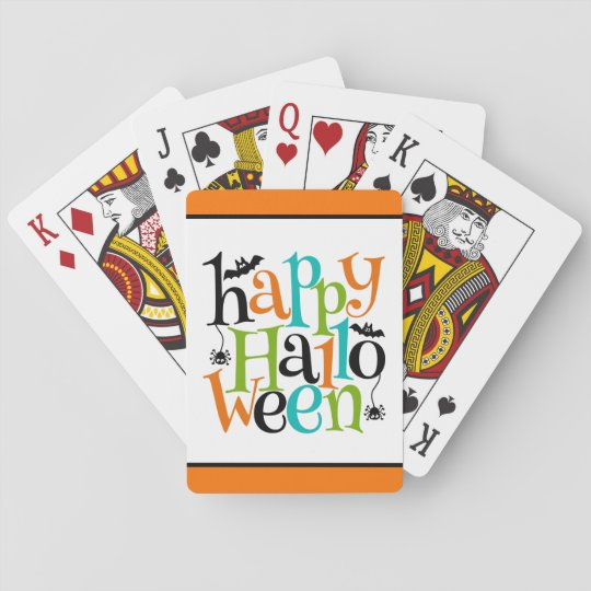 Modern Happy Halloween Typography Bats Spiders Playing Cards
