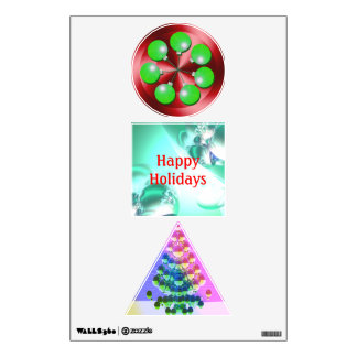 Modern Happy Holiday Christmas Decorations Wall Decals