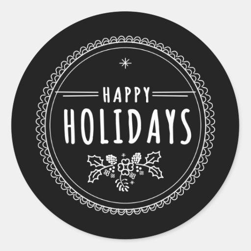 Modern Happy Holiday Round Black...