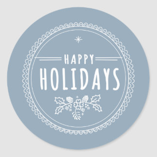 Modern Happy Holiday Round Blue Christmas Sticker