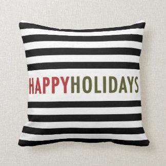 Modern Happy Holidays Black Stripes Holiday Pillow