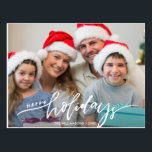 "Modern Happy Holidays Hand Lettered Family Photo Postcard<br><div class=""desc"">Celebrate the season with this fun postcard featuring your photo and the handwritten words ""Happy Holidays"" on the front and your custom note on the back. Or, if you"