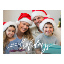 Modern Happy Holidays Hand Lettered Family Photo Postcard
