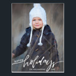 "Modern Happy Holidays Hand Lettered Family Photo Postcard<br><div class=""desc"">Celebrate the season with this fun postcard featuring your vertical photo and the hand lettered words ""Happy Holidays"" on the front and your custom note on the back. Or, if you"