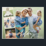 """Modern Happy Holidays Hand Lettered Photo Collage Postcard<br><div class=""""desc"""">Celebrate the season with this fun postcard featuring 4 of your photos and the hand lettered words """"Happy Holidays"""" on the front and your custom note on the back. Or, if you"""