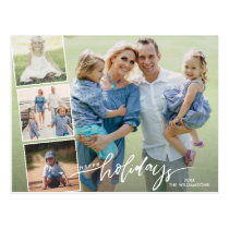 Modern Happy Holidays Hand Lettered Photo Collage Postcard