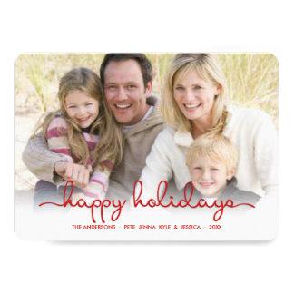 Modern Happy Holidays Hand Script Flat Photo Card