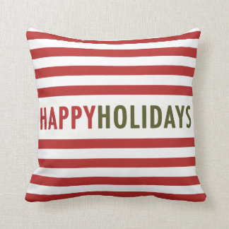 Modern Happy Holidays Stripes Holiday Pillow