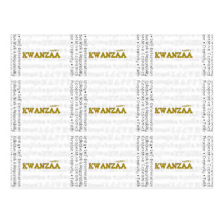Modern Happy Kwanzaa Gold Postcard