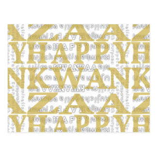 Modern Happy Kwanzaa Gold Postcards