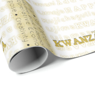 Modern Happy Kwanzaa Gold Wrapping Paper