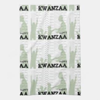Modern Happy Kwanzaa Green Hand Towel