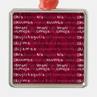 Modern Happy Kwanzaa Metal Ornament