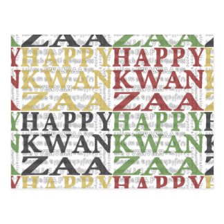 Modern Happy Kwanzaa Red Green Black Gold Post Card