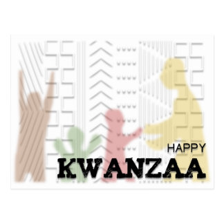 Modern Happy Kwanzaa Red Green Black Postcard