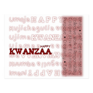 Modern Happy Kwanzaa Red Post Cards
