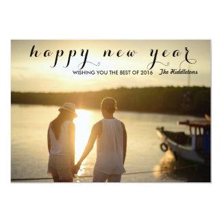 Modern Happy New Year Script Photo Card