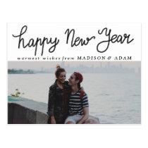 Modern Happy New Year Typography Photo Postcard