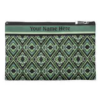 Modern Harlequin Pattern in Black, Teal, and Green Travel Accessory Bag