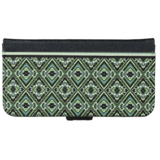 Modern Harlequin Pattern in Black, Teal, and Green Wallet Phone Case For iPhone 6/6s