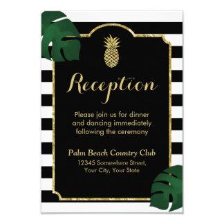 Modern Hawaiian Gold Pineapple Wedding Reception Card