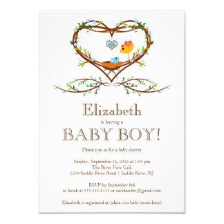 Modern Heart baby bird Boys Baby Shower Card