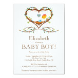 "Modern Heart baby bird Boys Baby Shower 4.5"" X 6.25"" Invitation Card"