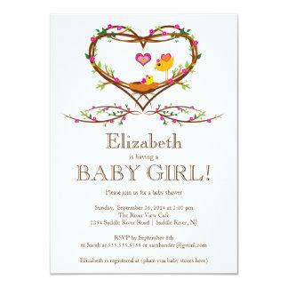 Modern Heart baby bird Girls Baby Shower Invites