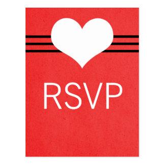 Modern Heart RSVP Postcard, Red Postcard