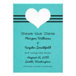 Modern Heart Save the Date Invite, Aqua