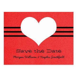 Modern Heart Save the Date Postcard, Red Postcard