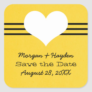 Modern Heart Save the Date Stickers, Yellow