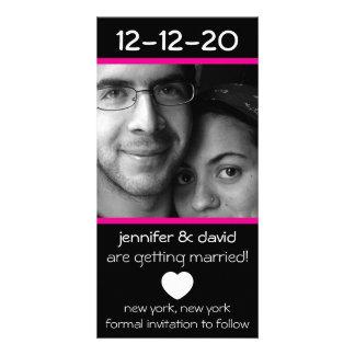 Modern Heart Save The Dates Magenta Pink Photo Card