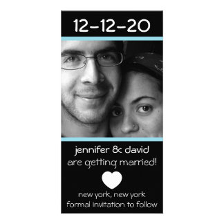 Modern Heart Save The Dates (Pale Blue) Personalized Photo Card