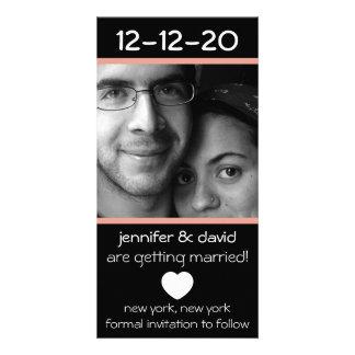 Modern Heart Save The Dates (Peach) Photo Card